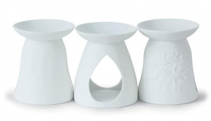 YANKEE CANDLE 3 Kominki Ceramiczne Białe Triple Pack